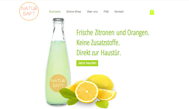 Online-Shop website templates –  Frische Säfte