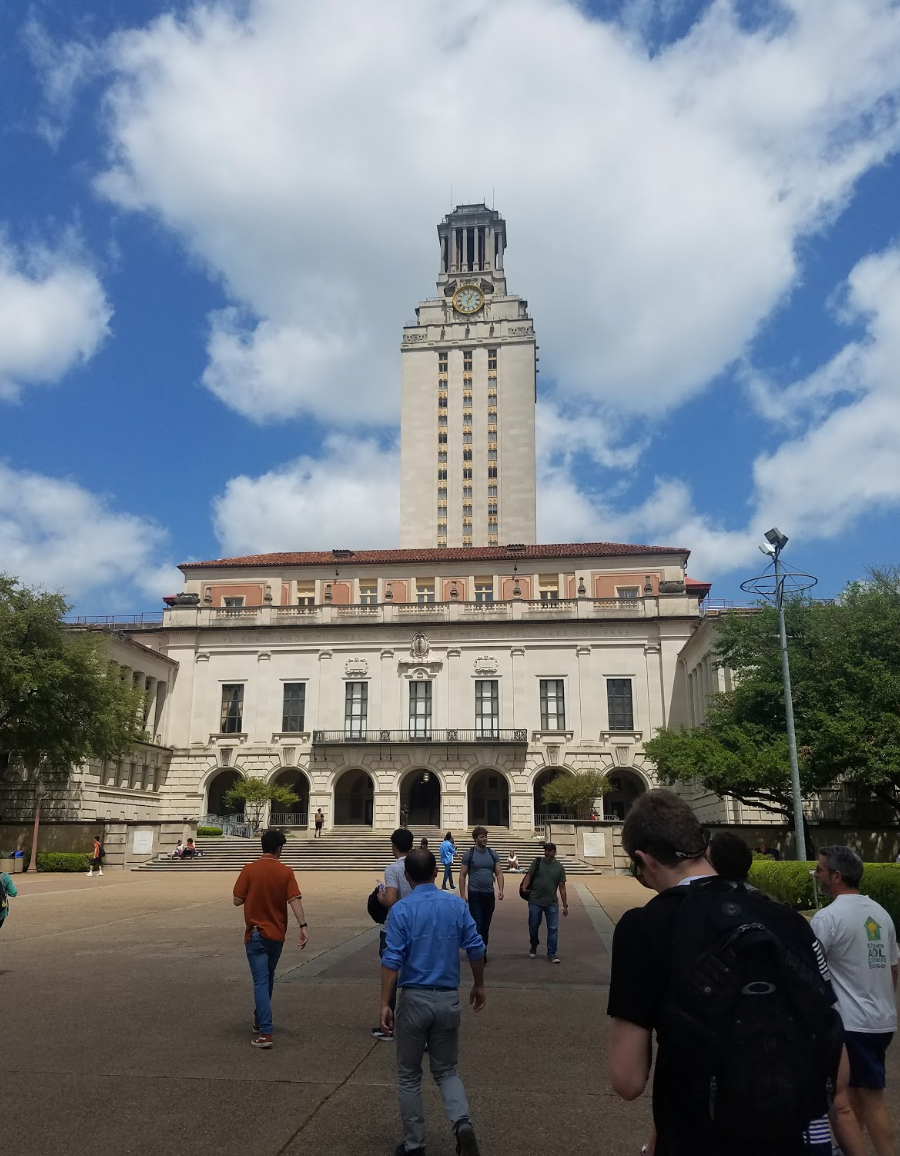 The Main Building (known colloquially as The Tower) is a structure at the center of the University of Texas at Austin campus in Downtown Austin, Texas, United States. The Main Building's 307-foot (94 m) tower has 27 floors and is one of the most recognizable symbols of the university and the city.
