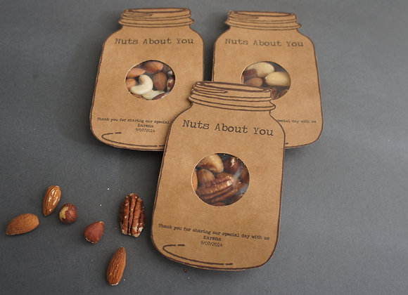 Nuts about you wedding favour sample