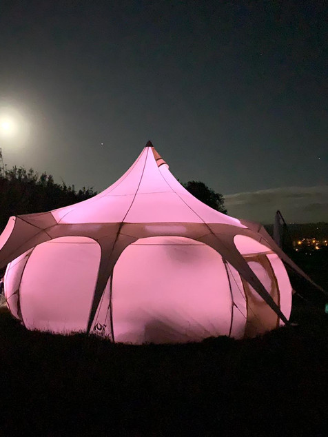 Bell tent at night