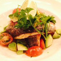 Pan searer trout with heritage tomato and avocado salad