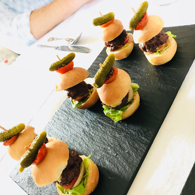 Mini beef burgers, relish and cornichons