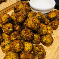 Vegetable pakoras with tzaziki