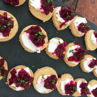 Parmesan shortbread with goats cheese and beetroot chutney