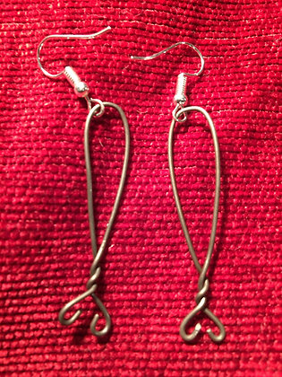 Horning Ferry Fish earrings in polished iron