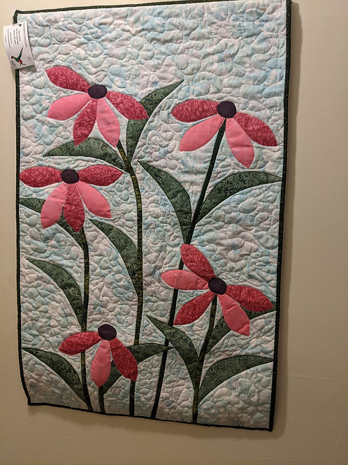 Handmade quilted coneflower wallhanging