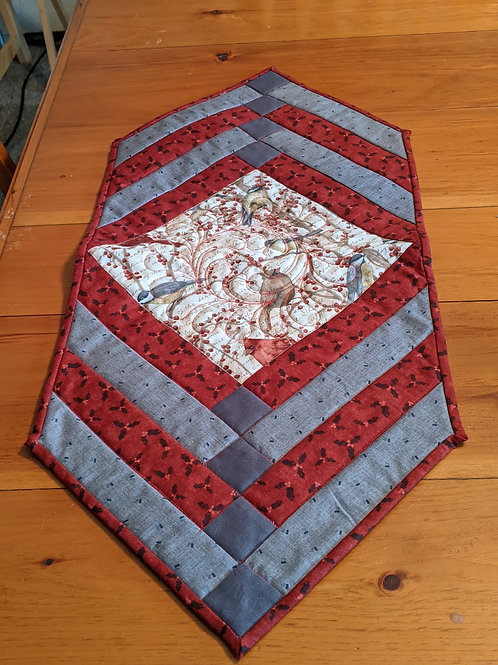Chickadee and cardinal table runner