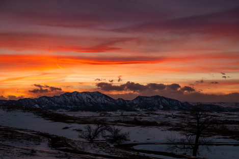 Winter Flatirons Sunset