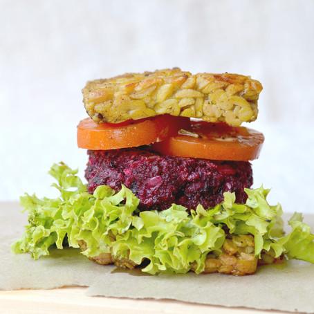 Veggie Beet Tempeh Burgers