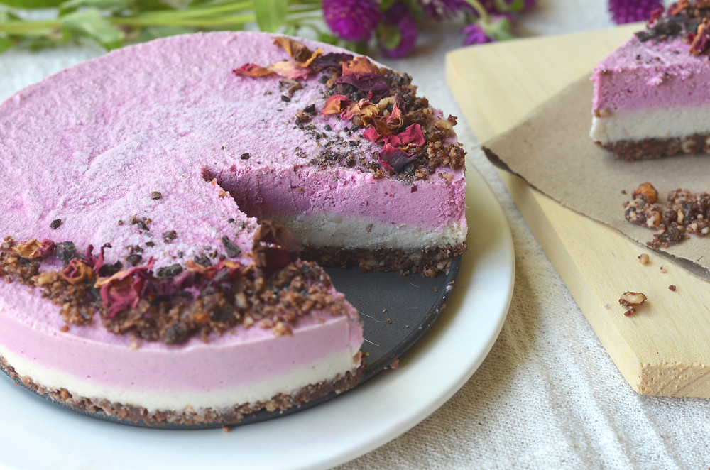 Raw Chocolate Beet Layered Cheesecake by The Healthy Row