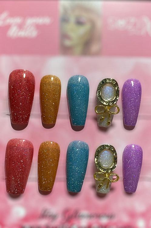colored glittery
