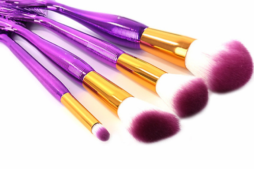 4Pc Purple Mermaid Brush Set+bag