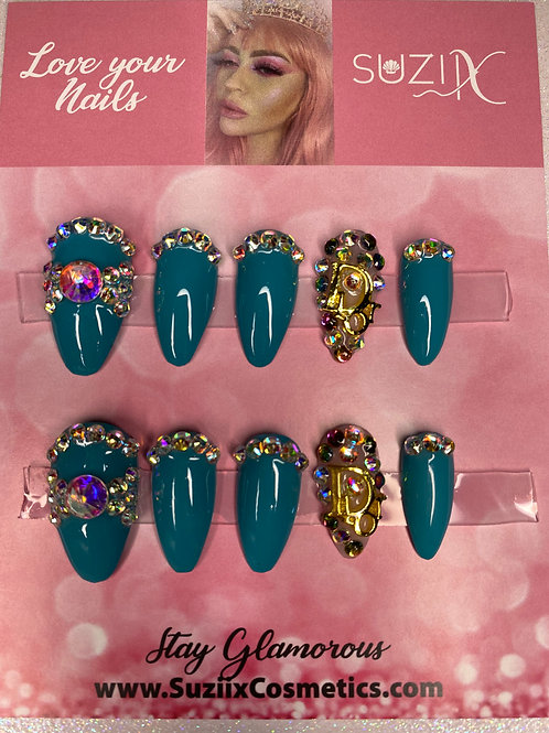 Glam Teal Inspired nails