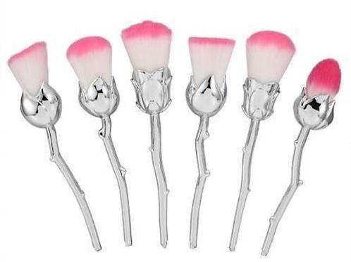 Silver 6pc Rose Brush Set