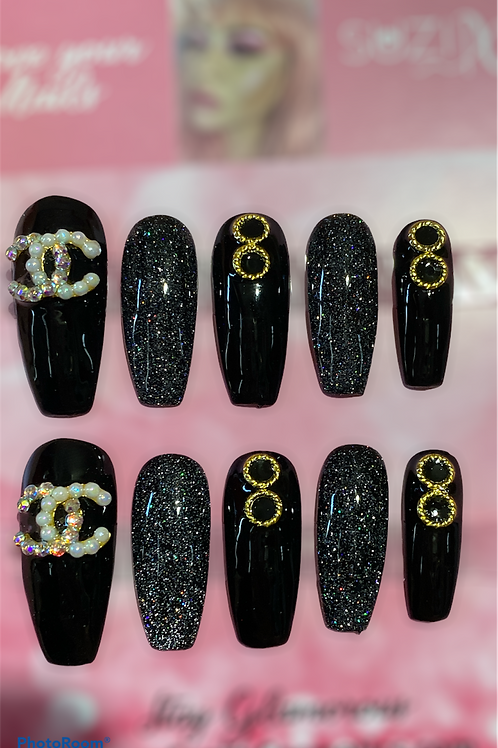 Black Sparkly Inspired nails