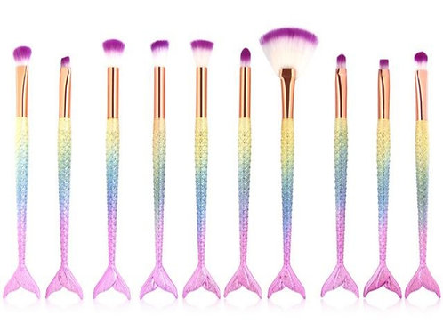10 Pcs multi colored Mermaid brush set