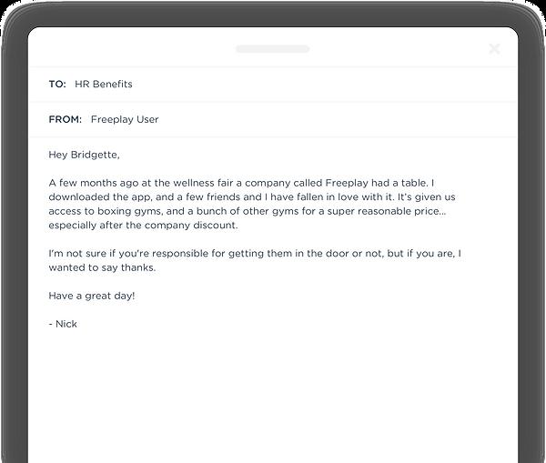 Freeplay Corporate Gym Membership Email