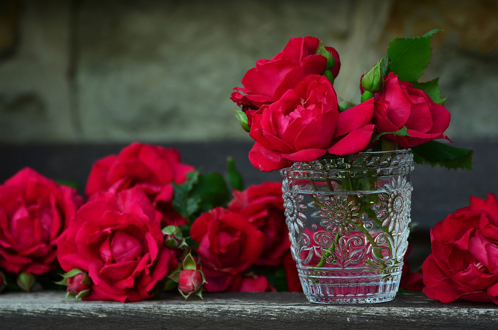 Red roses in a vase for events