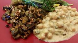 Okra, Chickpeas, Salad