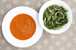 Gaspacho with Arugula Red Onion Salad