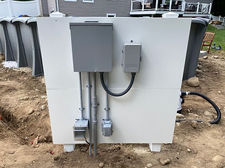 Pool sub panel with timer and outlets installed on a white PVC support board all installed by Steven M Parker Electric in the great city of Haverhill MA.