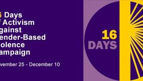 November 25th kick starts #16daysofactivism