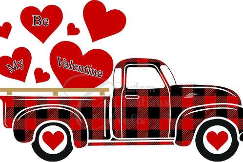 Valentine iron on transfer - Red truck