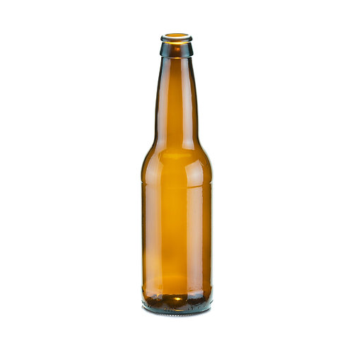 12oz Amber Long-Neck Glass Bottle, Pry Off top