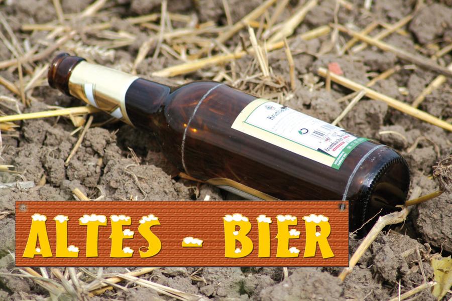 Plane Altes Bier mit Tafel
