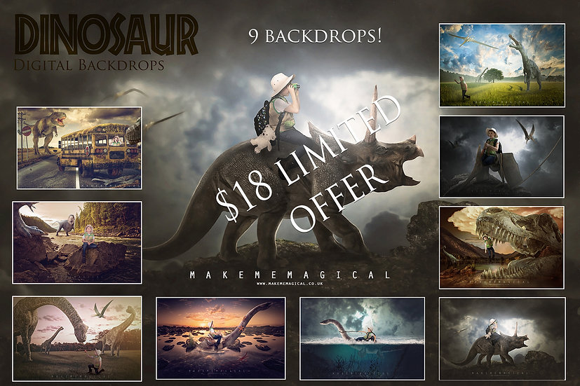 9 x Dinosaur digital backdrop bundle pack, dinosaur backgrounds, dinosaur photo