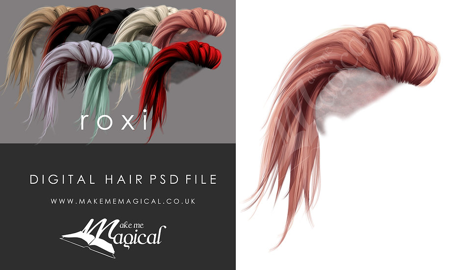 Roxi digital painted instant hair overlay psd by makememagical