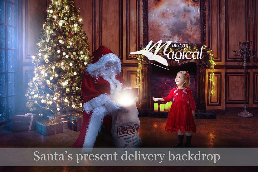Santa delivering presents Christmas digital backdrop