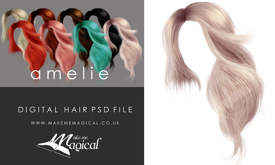 Amelie digital painted instant hair overlay psd by makememagical