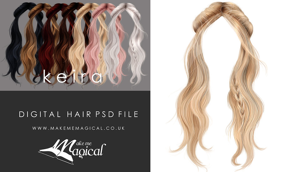 Keira digital painted instant hair overlay psd by makememagical