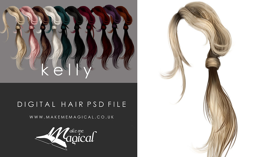 Kelly digital painted instant hair overlay psd by makememagical
