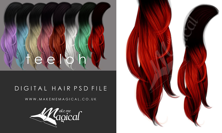 Teeloh digital painted instant hair psd by makememagical