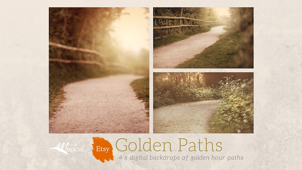 4 x pack digital golden hour path backdrops, golden paths, nature, gravel path,