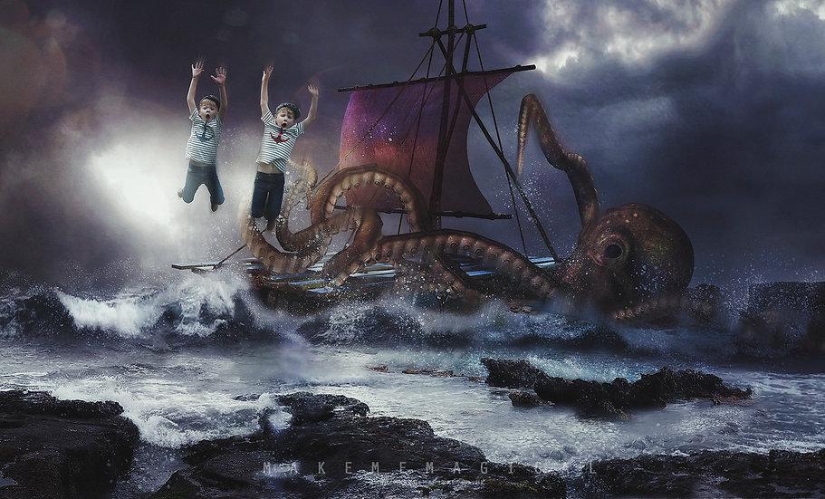 Kraken digital backdrop, giant octopus digital background, sea monster digital