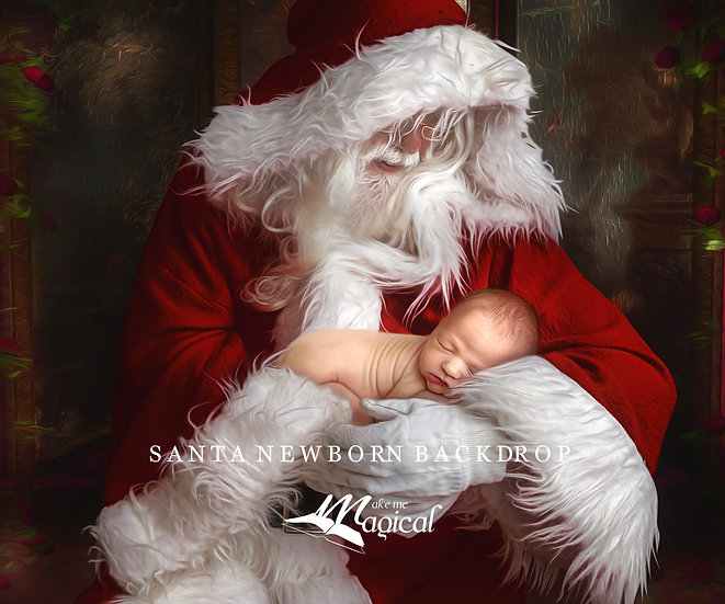 Santa pose for newborn baby Christmas digital backdrop