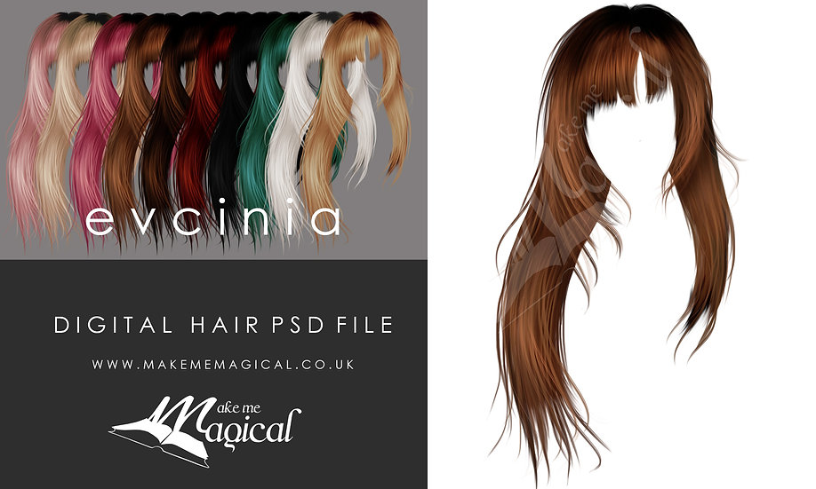 Evcina digital painted instant hair overlay psd by makememagical