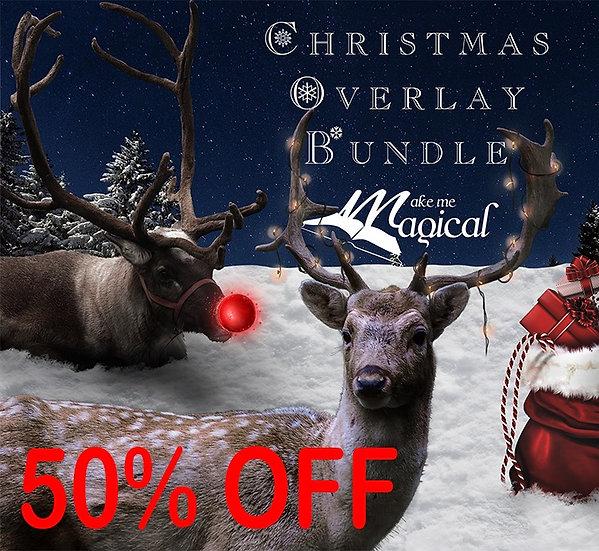 Christmas Digital Overlay Mega Bundle Pack, reindeer overlays, postbox overlays