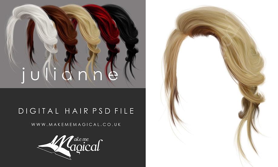 Julianne digital painted instant hair overlay psd by makememagical