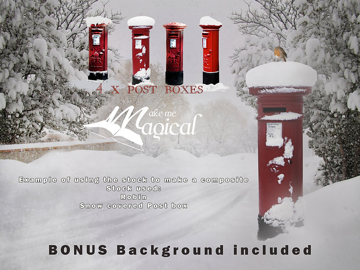 Red Post Box Christmas digital overlays by Makememagical