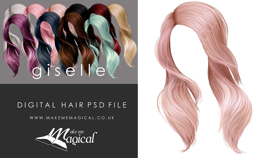 Giselle digital painted instant hair overlay psd by makememagical