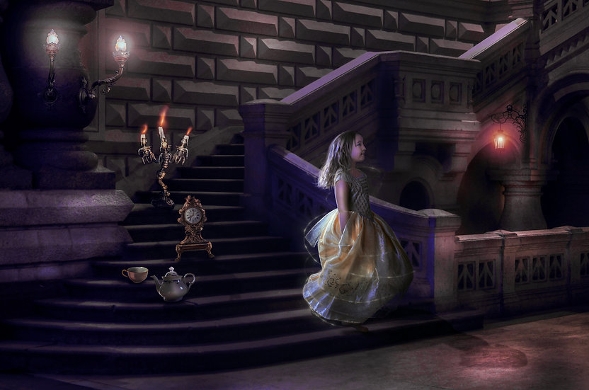 Beauty and the Beast Digital backdrop, staircase with clock, candelabra, teacup