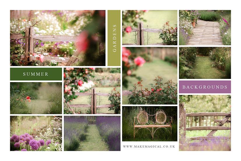 Summer garden digital backdrops - 15 x summer garden backgrounds