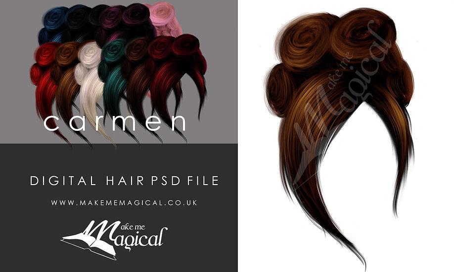 Carmen digital painted instant hair psd by makememagical