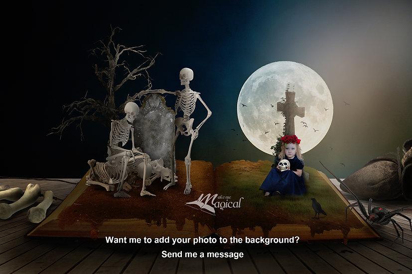 Digital Backdrop, Halloween, sugar skull, skeletons, graveyard, fantasy book