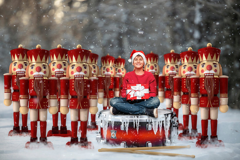 12 Days of Christmas - 12 Drummers Drumming Digtal Backdrop