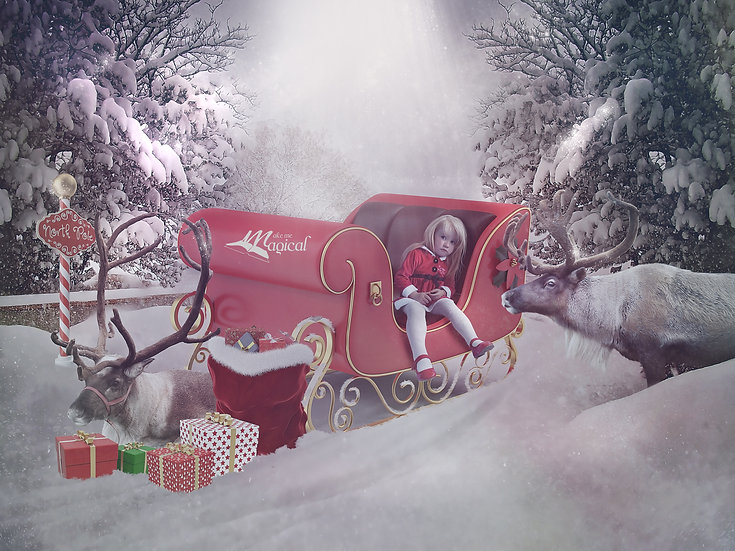 Santa and Reindeer sleigh  Christmas digital backdrop by Makememagical